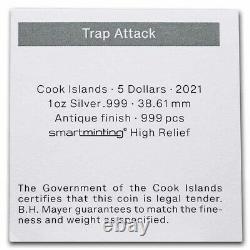 NEW 2021 Cook Islands 1 oz Antique Silver Trap Attack