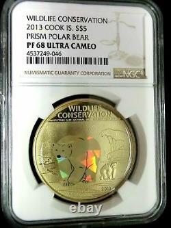 NGC PF68 Cook Island 2013 Prism Polar Bear $5 Super. 999 Silver Coin POP 1