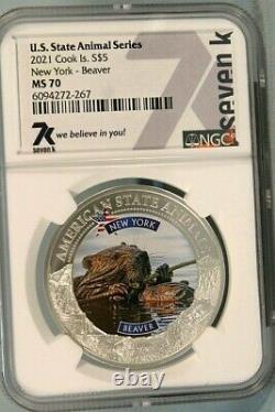 New York Beaver Ms70 1 Oz. 999 Silver 2021 Ngc 7k Us State Animal Series Coin