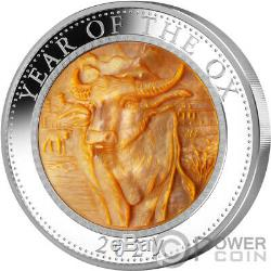 OX Mother of Pearl Lunar Year Series 5 Oz Silver Coin 25$ Cook Islands 2021