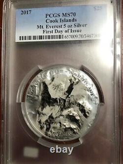 PCGS MS70 2017 THE SEVEN SUMMITS MT. EVEREST HIMALAYAS 5oz SILVER COIN $25