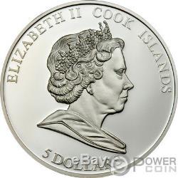 PENGUIN Polar Endangered Wildlife Silver Coin Swarovski 5$ Cook Islands 2008
