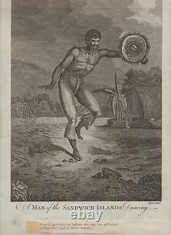 Rare Large 1700's Hawaiian Print Man of the Sandwich Islands Cooks Voyages