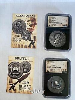 Roman Series, 7K MS 70, First 2 Coins Of 12, Caesar & Brutus