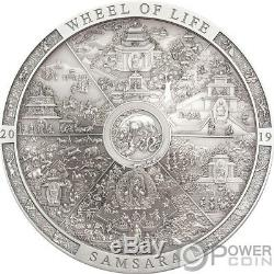 SAMSARA WHEEL LIFE Archeology Symbolism 3 Oz Silver Coin 20$ Cook Islands 2019