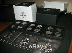 Scarce 2016-17 Cook Islands Gods Of Olympus 12 Coin Silver Coin Medal Set