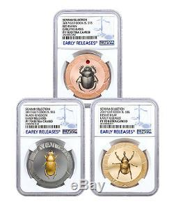 Set of 3 2017 Cook Isl HR Scarab Beetle 1 oz Silver Gilt NGC PF70 UC ER SKU48052