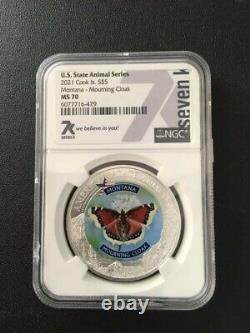 Set of 5 Silver 1oz Animal State Series NGC MS70 Coins