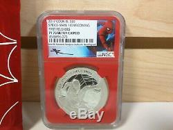 Spider-Man Homecoming 1oz Silver $5 Cook Islands NGC PF70 Mercanti First Release