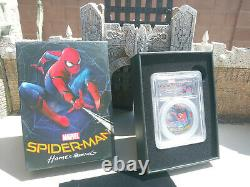 Spiderman 1oz Silver LE Black Proof PCGS PF69DCAM 2017 First day issue Marvel