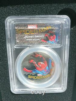 Spiderman 1oz Silver LE Black Proof PCGS PF69DCAM 2017 First day of issue Marvel