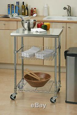 Stainless Steel Table Top Work Kitchen Island Cart Wheels Chef Cooking Storage
