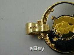 Stunning 14k Yellow Pendant with 1/20 ozt. Gold Cook Islands Elephant Coin (284)