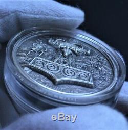 THOR HAMMER Mjolnir 2 Oz Silver Coin 10$ Cook Islands 2017