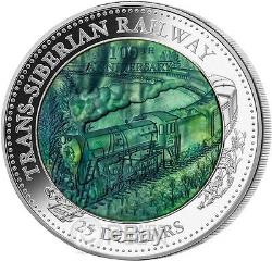 TRANS SIBERIAN RAILWAY Mother Of Pearl 5 Oz Silver Coin 25$ Cook Islands 2016