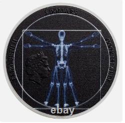 VITRUVIAN MAN X-ray 1 Oz Silver Coin $5 Cook Islands 2021 Mintage 999 BOX COA