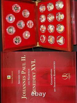 Vatikan 20 Gedenkmünzen mit Swarovski 2007-2009, Cook Islands, Andorra PP