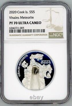 Vinales Viñales Meteorite 2020 Cook Islands 1oz Silver Coin NGC PF70 $5