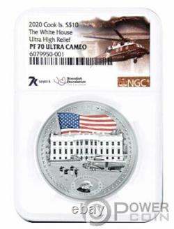 WHITE HOUSE PF70 By Miles Standish 2 Oz Silver Coin 10$ Cook Islands 2020
