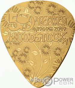 WOODSTOCK Guitar Pick 50th Anniversary 1/4 Oz Gold Coin 50$ Cook Islands 2019