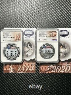War Of 1812 White House 1 oz. & 2 oz. Silver Coin Set. NGC PF70. 1600 Minted