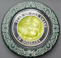 Year of the Snake Mother of Pearl 5 oz Pure Silver Coin $50 Cook Islands 2013